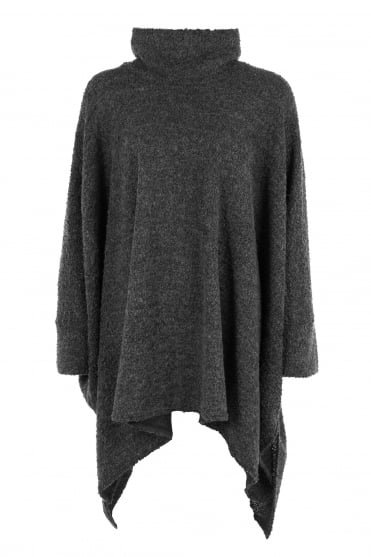 Grey Oversized Wool Boucle Knit