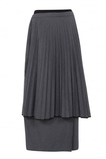 Grey Skirt with Pleat Apron