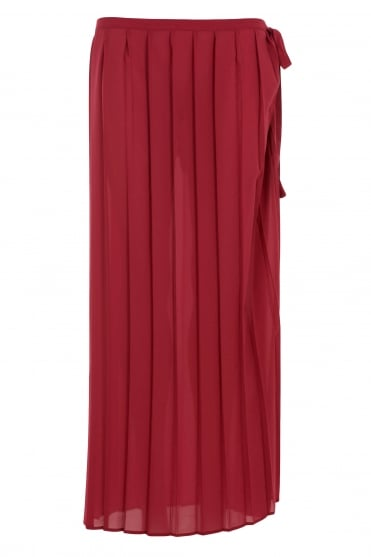 Red Pleat Layering Skirt