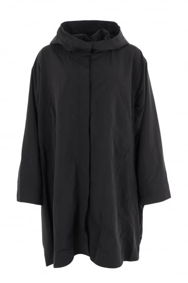 Black Oversize Feature Pockets Coat