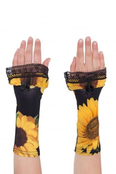 Sunflower Print Jersey Cuffs