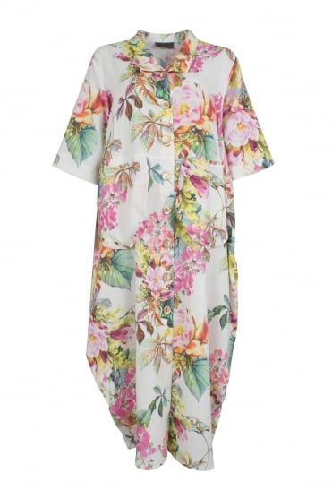 Statement Floral Linen Coat