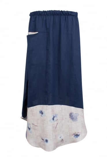 Linen Skirt With Floral Border