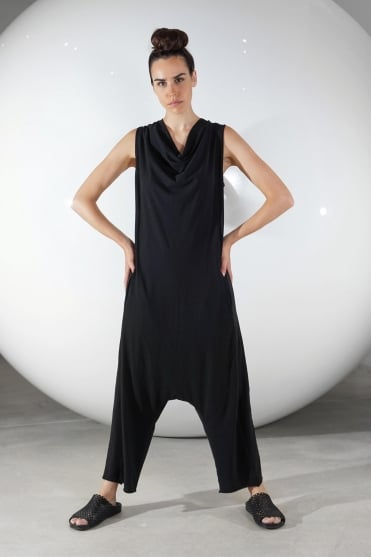 Black Cotton Jersey Overall