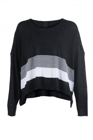 Knitted Crop Tunic Black/White Stripe