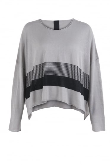 Knitted Crop Tunic Grey/Black Stripe