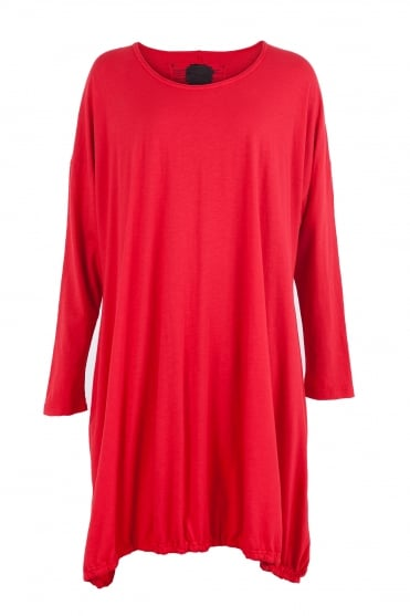 One-Size Red Cotton Jersey Dress