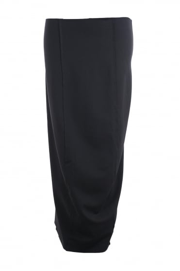 Black Architectural Stretch Skirt