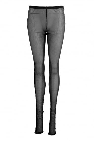 Black Cotton Mesh Leggings