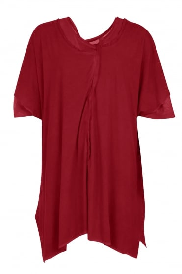 Red Double Layer Oversize Tunic