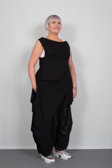 Black Sleeveless Asymmetric Tunic