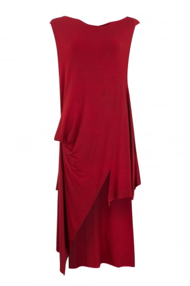 Red Sleeveless Asymmetric Tunic