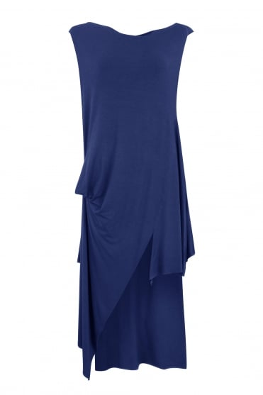 Blue Sleeveless Asymmetric Tunic