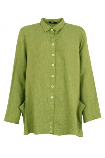 Pistachio Green Wally Linen Shirt
