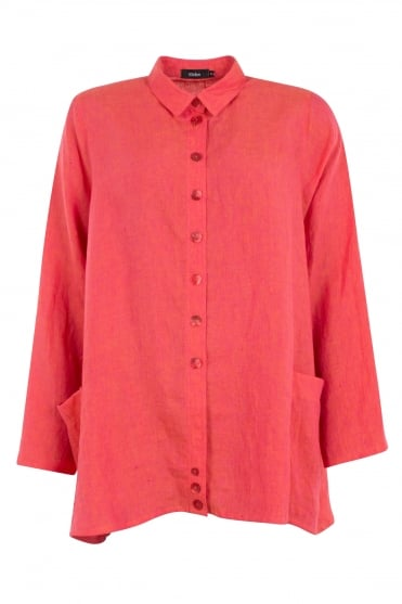 Ralston Coral Wally Linen Shirt front view
