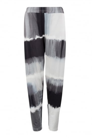 Monochrome Abstract Print Jersey Trouser
