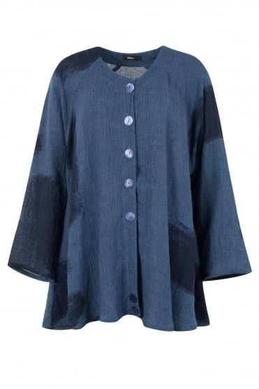 Blue Linen Kelly Oversize Jacket