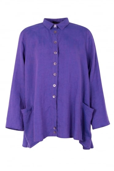 Purple Wally Linen Shirt