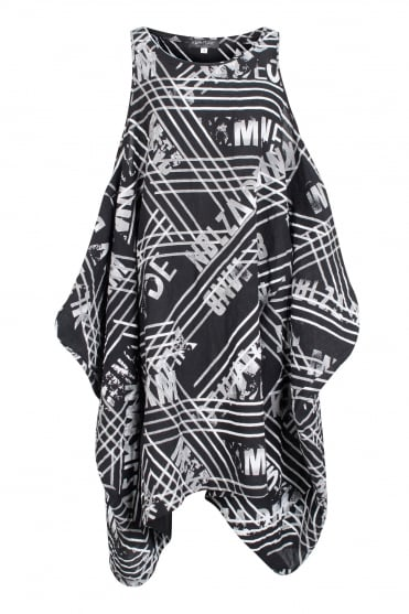 Graphic Print Linen Tunic-Dress