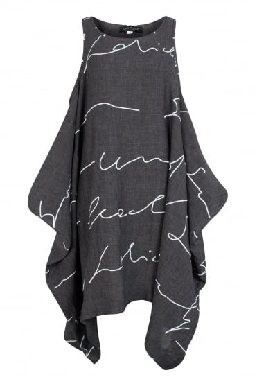 Anthracite Abstract Linen Tunic-Dress