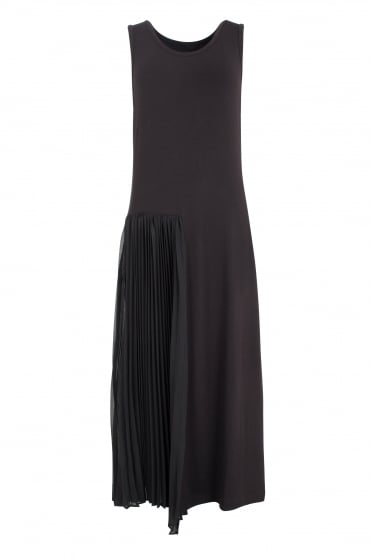 Black Dress with side Pleat