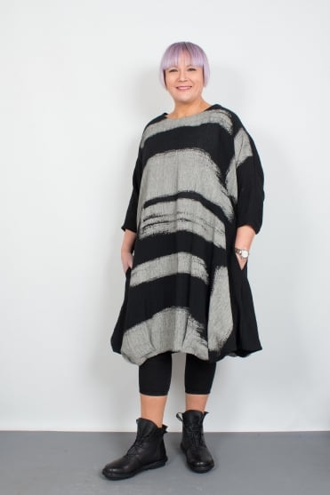 Black-Grey Siria Linen Dress
