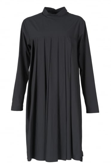 Deep Black Cotton Pleat Dress
