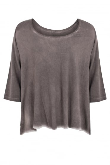 Taupe 'Old Look' Jersey Flared top