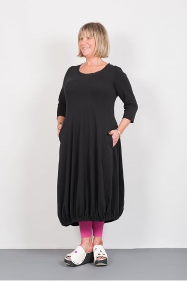 Black Fit and Flared Cotton Dress