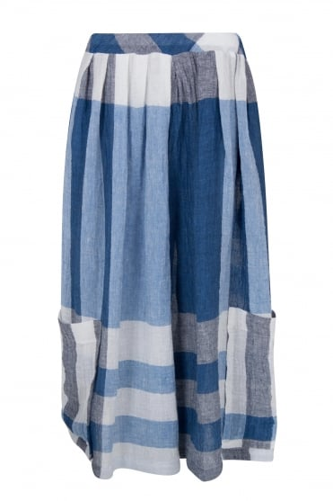 Blue Check Linen Culotte