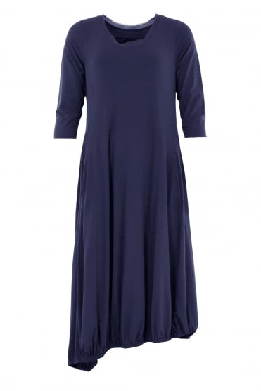 Blue Fit and Flared Cotton Dress