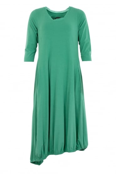 Green Fit & Flared Cotton Dress