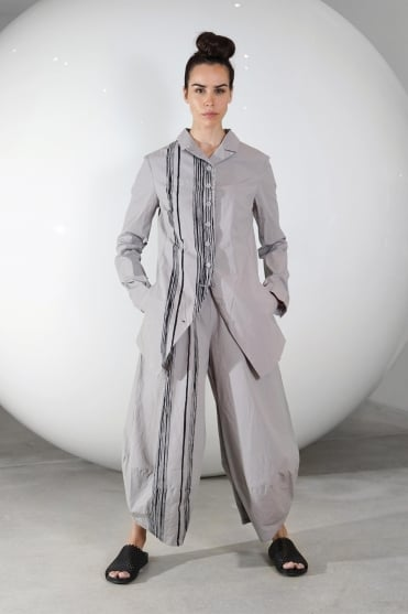 Grey with Black Front Stripe Trouser