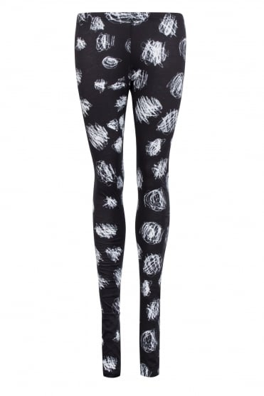 Black Cotton White Scribble Print Leggings