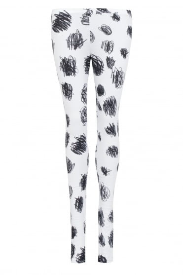 White Cotton Black Scribble Print Leggings