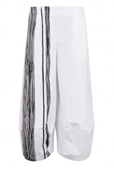 White with Black Front Stripe Trouser