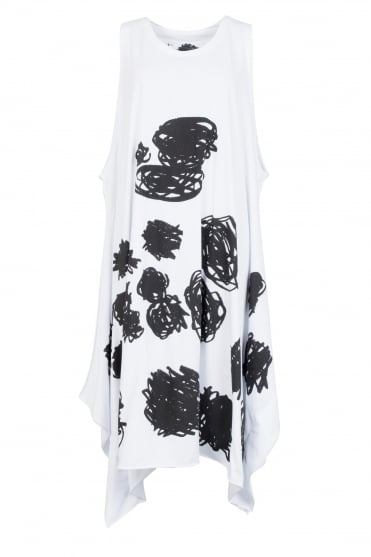 White Scribble Print Cotton Dress