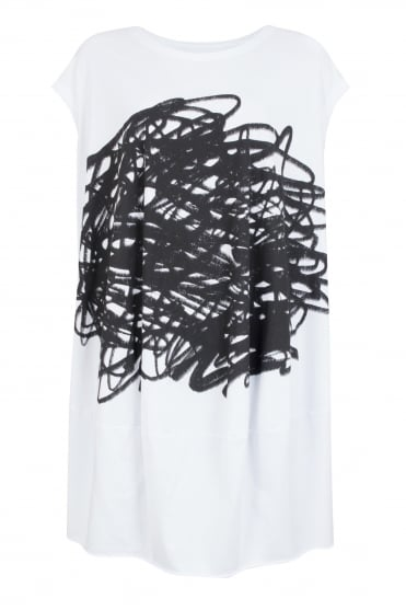 White Scribble Print Tunic