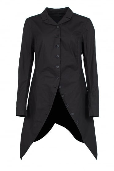 Black Asymmetric Cotton Coat