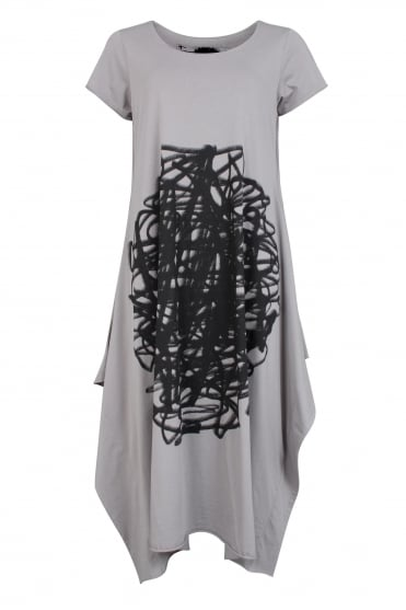 Grey Scribble Print Dress