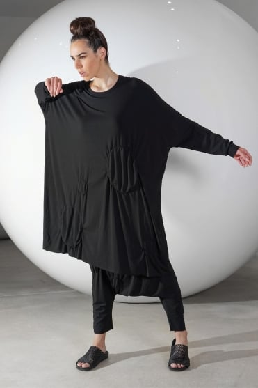 Black One-Size Feature Circles Dress