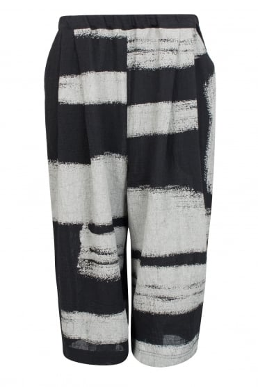 Zuka Black Brush Stroke Linen Trouser
