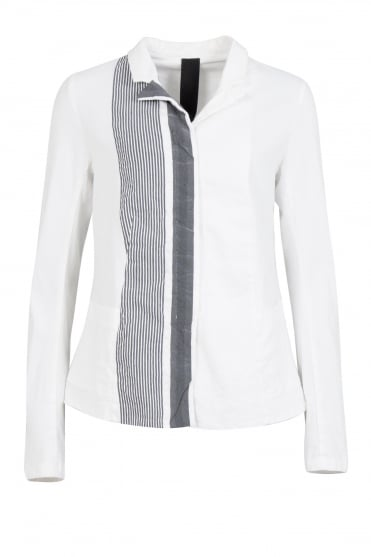 Feature Stripe White Fitted Jacket
