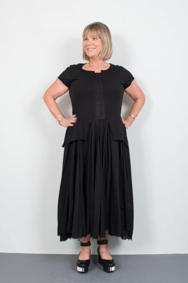 Black Cotton Layered Dress