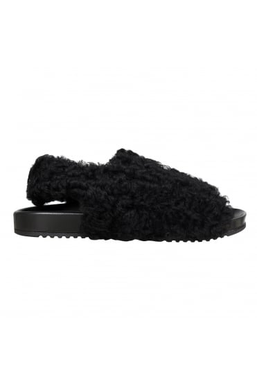 Vintage Persian Wool Black Sandal