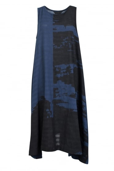 Navy Abstract Print Cotton Dress