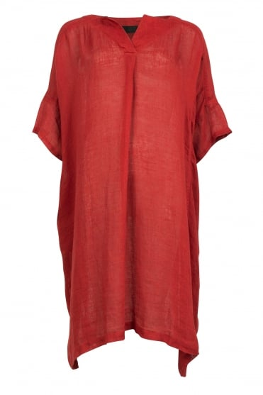 Burnt Orange Cotton-Linen Tunic