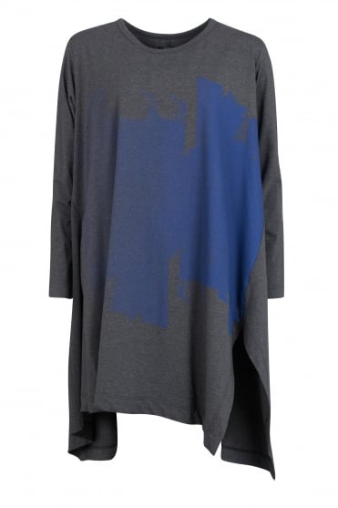 Grey Abstract Print Cotton Tunic