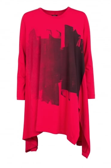 Red Abstract Print Cotton Tunic