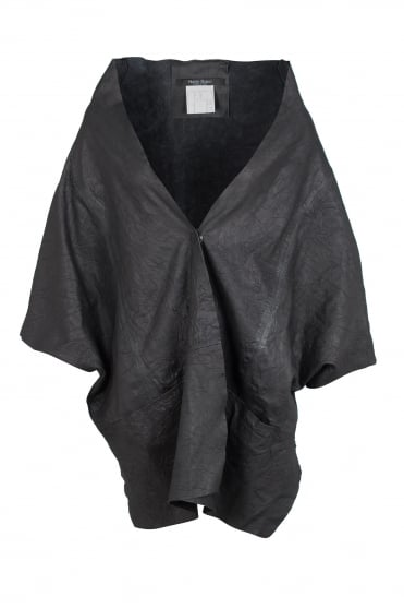 Black Leather Deconstructed Jacket